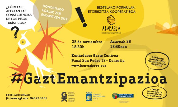 Encuentro #GaztEmantzipazioa el 28 de noviembre en Donostia